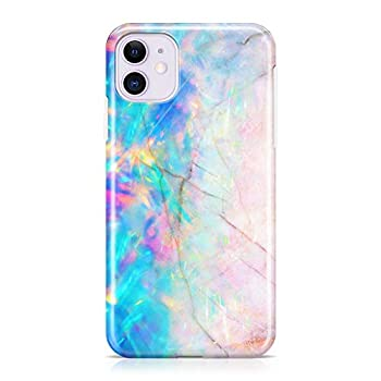 uCOLOR Case Compatible with iPhone 11 6.1 inch Protective Case Slim Soft TPU Silicone Shockproof Cover Compatible iPhone 11 6.1 inch 2019 Release  Pink and Blue Opal Crystal Marble