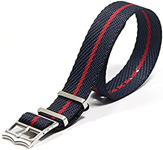 Watchbands - High-Grade Nylon Material Replacement Braided Nylon NATO Watch Bands For Tudors Adjustable Nylon Strap (Blue ...