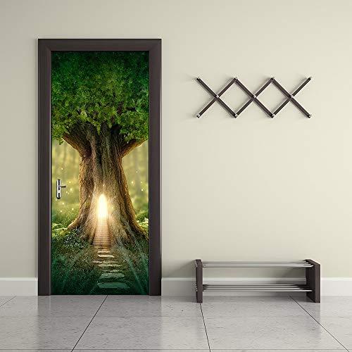 YLLW 3D-Wald-Baum-Licht-Tür-Aufkleber PVC-Selbstklebende wasserdichte Türtapete for Schlafzimmer Wohnzimmer Home Türtapete (Sticker Size : 77x200cm)