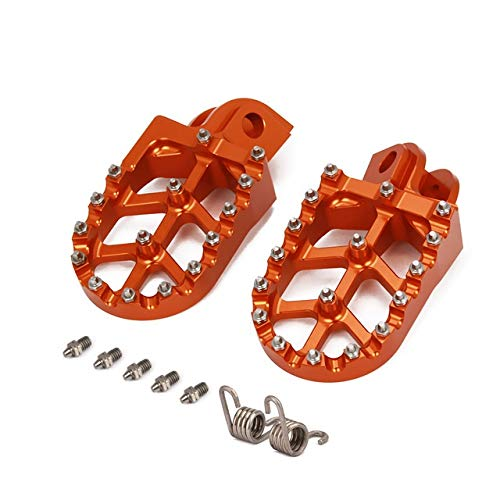 XBFVE Motocicleta CNC Foot Pegs Pedales silencios Estriberas Reposapiés Fit for Husqvarna TC TE FC FE FS 65 85 125 250 300 350 450 501 350S 501S (Color : Orange)