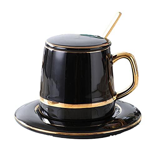 qiuqiu Taza De Café De Porcelana, Juego De Taza Y Platillo De Café, Taza De Agua De Cerámica, Taza De Té con Platillo Y Cuchara Dorada, Tazas De Chocolate Caliente, Capuchino Y Latte Black