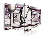 DekoArte 85 - Cuadros Modernos Impresión de Imagen Artística Digitalizada | Lienzo Decorativo para Tu Salón o Dormitorio | Estilo Abstracto con Colores Morados | 5 Piezas 150 x 80 cm