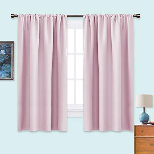 NICETOWN Room Darkening Curtains for Girls Room - Nursery Essential Thermal Insulated Solid Rod Pocket Top Drapes (Lavender Pink=Baby Pink, 1 Pair, 42 x 63 Inch)