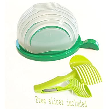 Salad Cutter Bowl Set By SHOP&RELY - New design GREEN | 60 second salad maker with easy rotation cuts fruits and vegetables | BONUS- Fruit Slicer