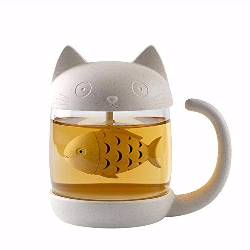 Cute Cat Infuser Tea Mug with Built-In Fish Shaped Loose Leaf Infusion Filter Basket – 8.5oz Eco-Friendly Novelty Kitty Steeper Cup Accessories Gift Set for Animal Lovers