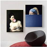 アートパネル ヨーロッパヴィンテージフィギュア女性の肖像ポスターキャンバス絵画壁アートプリントリビングルームの写真家の装飾19.7x27.6in(50x70cm)x2pcsフレームなし