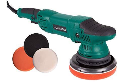 VONROC Exzentrische Poliermaschine Set/Dual Action/Poliermaschinen-Set – Konstant-Elektronik – Soft Start – 150 mm – 1050 W – einschließlich 4 Polierscheiben, Stützscheibe und Tasche