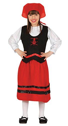 Guirca- Disfraz infantil de pastorcita, Color rojo, 3-4 añ