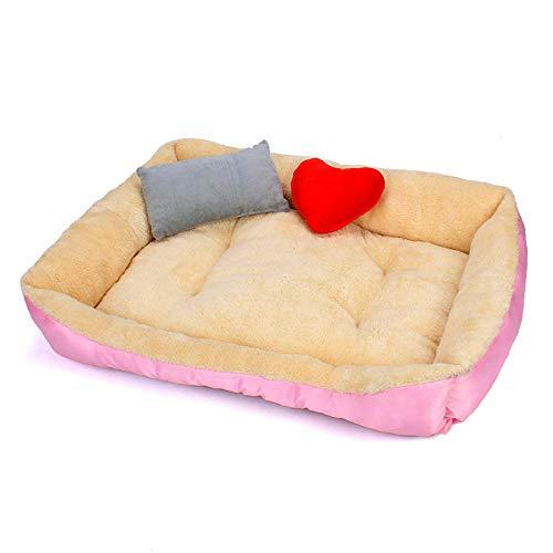 Cama para Perros de Felpa Suave y cálida Cama para Perros Cama para Dormir mullida sofá para Mascotas Perros pequeños y medianos de Varios tamaños -Rosa_S-45 * 30 * 15 cm