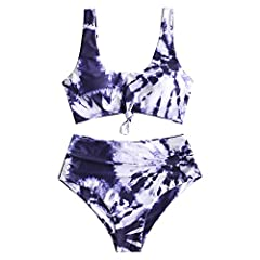 Material: Polyester,Spandex Our Size: S--US 4, M--US 6, L--US 8,XL--US 10,2XL--US 12. NOTE: Measurements should be taken directly on your body. Padded Bra, High Waisted,Good Elasticity This two pieces bikini features a tie dye tank style top with a c...