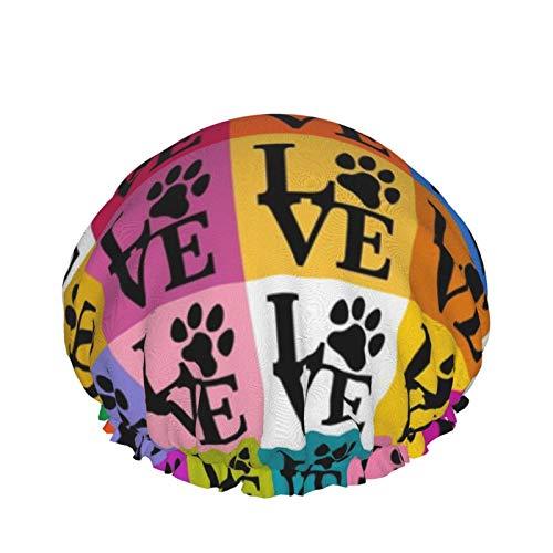 Gorro de ducha reutilizable para mujer, resistente al agua, para salón de belleza, spa, tamaño mediano (Dog Paws Pop Art)