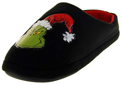 Grinch The Mens Warm Fleece Novelty Mule Slippers Black 9 D(M) US