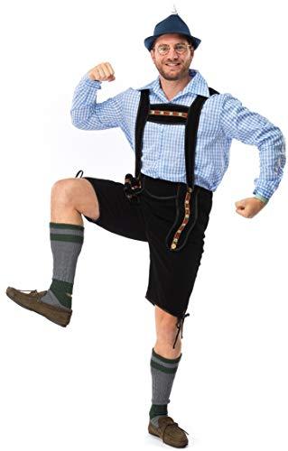Original Replicas Komplettes Trachten Herren Set - Oktoberfest Bierfest Lederhose mit kariertem Hemd L Blau-Schwarz - XS bis 3XL