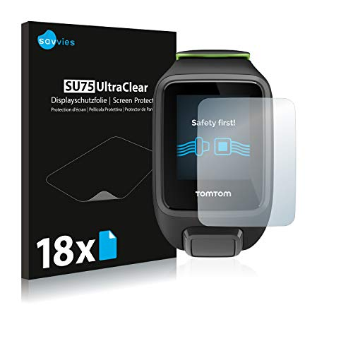 Savvies 18x Schutzfolie kompatibel mit Tomtom Runner 3 Cardio/Music Displayschutz-Folie Ultra-transparent