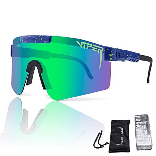 Gafas De Sol Deportivas Polarizadas a Prueba De Viento, Gafas De Sol para Ciclismo Gafas De Sol UV400 De Doble Ancho, Lentes De Colores, con Diseño Curvo Y Más Ancho, para Mujeres Y Hombres,C