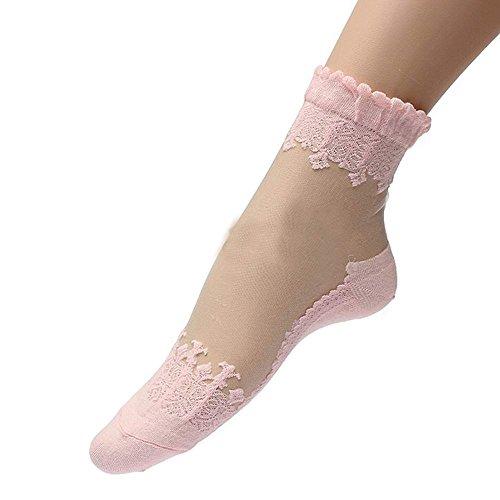 Mangotree 2016 Neue Mode Sommer Damen Jahrgang Ultradünne Transparent Schöne Crystal Lace Elastische Kurze Socken Schwarz (Rosa)