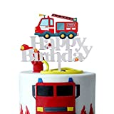 Acrylic Fire Truck Happy Birthday Cake Topper Fire Fireman Theme Birthday Party Decoration Suppliers