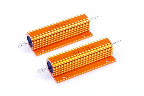 LM YN 100 Watt 3 Ohm 5% Wirewound Resistor Electronic Aluminium Shell Resistors Gold Suitable for Inverter, LED Lights,Frequency Divider, Servo Industry 2-Pcs