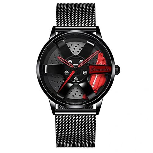 Reloj de pulsera creativo para hombre, reloj de pulsera para llantas de coche, reloj para llantas de coche, resistente al agua,3D con rueda de coche, de cuarzo, para hombre,Aguja de red negra