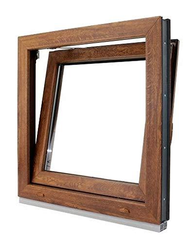 (V17M) Finestra PVC colore legno 600 x 600 Pract Osc. Rovere Dorato (DERECHA)