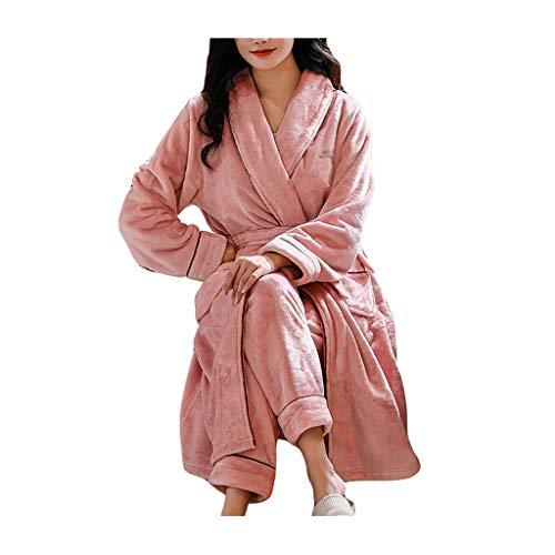 Loungewear - Albornoz y pantalones para mujer, forro polar, color coral, suave, para baño, hotel, al aire libre, albornoces para mujer (color: rosa, tamaño: XL)