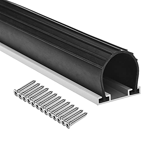 10FT Heavy-Duty U Ring Shape Universal Garage Door Bottom Seals Rubber with Pre-drilled Aluminum Track Retainer Base Kit (10ft, Black)
