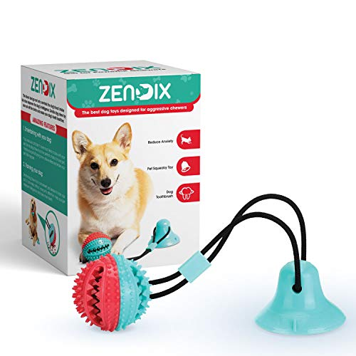 ZENDIX Dog Chew Toy - Dog Puzzle Treat Food Dispensing Ball Toys - Fixed Chew Toys for Aggressive Chewers - Chew Toys for Puppies and Large Dogs - Teeth Cleaning Toy for Dogs