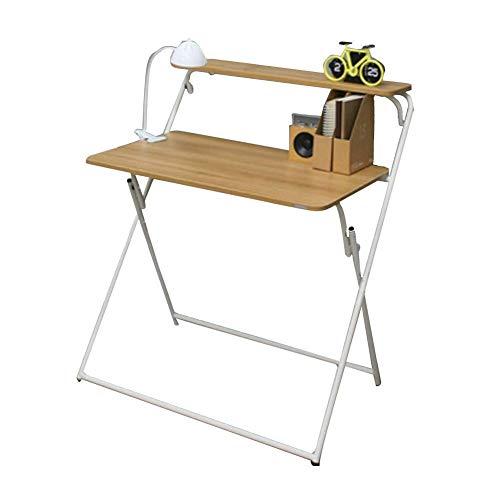 Lj Ff Massivholz Klapptisch X-Förmiger Laptop Tisch Student Study Desk Haushalt Abnehmbares Klapptisch Regal,Weiß