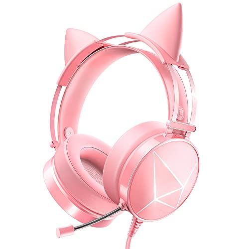 WodnHoak Pink Gaming Headset für PC, Xbox One Headset mit abnehmbaren Katzenohren, PS4 Headset mit Noise Cancelling Mikrofon, PS5 Headset mit 7.1 Surround Sound, LED Lichter für Mädchen