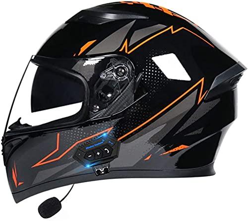 TKTTBD Casco De Moto Modular Bluetooth Integrado, con Doble Visera Cascos De Motocicleta, Casco Integral ECE Homologado, Transpirable Y Cómoda, para Mujeres Y Hombres I,XXL