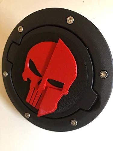 LicensePlateFreak Spartan Helmet Warior w Skull in 3D Black w RED for JK/JKU Flag Gas Cap Cover - Trojan Helmet