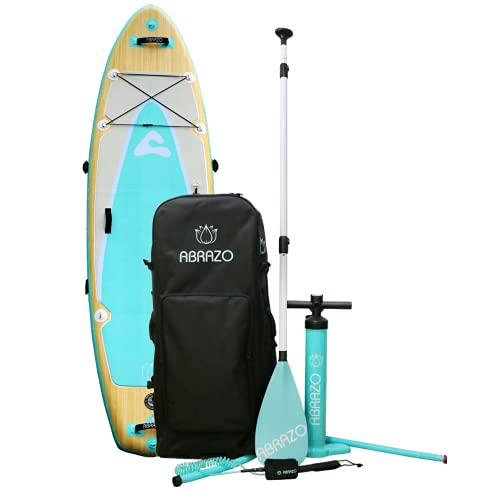 Abrazo Namaste Yoga Inflatable Stand Up Paddle Board (6 Inches Thick / Extra Wide Yoga Mat Pad) with SUP Accessories | Roller Bag, Double Pump, Fins, Paddle, Ankle Leash, Non-Slip Deck and Repair Kit