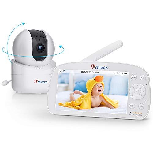 Baby Monitor con Video e Audio, Ctronics Telecamera Baby Monitor con Batteria da 5000mAh, Videocamera Wireless per Bambini, Ampio Schermo da 5.5