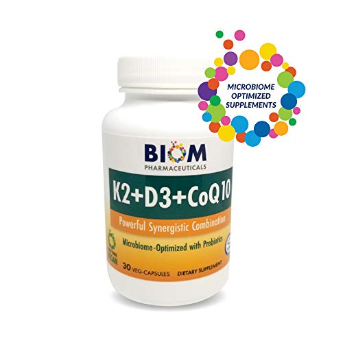 Biom Probiotics Vitamin D3 K2 with CoQ10 - Bone Health Supplement The Synergistic Combination for Bone, Heart and Brain Health - Non-GMO, Gluten Free and Vegan
