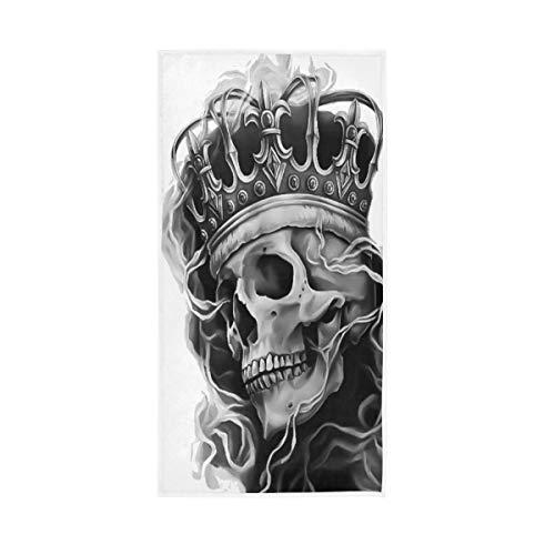 QMIN Toalla de mano Abstract King Ghost Skull, toalla de playa absorbente, toalla de baño para gimnasio, yoga, deportes, spa, hogar, cocina, 30 x 15 pulgadas