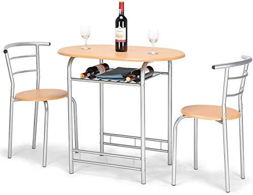 RELAX4LIFE 3 TLG. Sitzgruppe, Esszimmergruppe mit Tisch und 2 Stühlen mit Rückenlehne, Küchentisch mit Ablage, Esstisch Set für Balkon & Esszimmer & Wohnzimmer, Essgruppe aus Eisen und MDF (Natur)