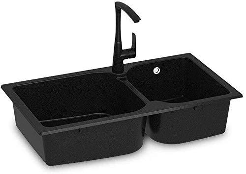 Kitchen Sink-Wannen-Küche Doppelwaschbecken Aufsatz Bottom Mounted Multifunktionale Spülbecken mit 1 Loch ZHJING