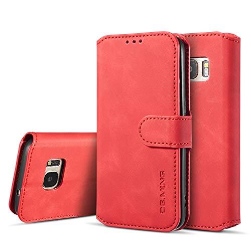 UEEBAI Handyhülle für Samsung Galaxy S7, Hülle Retro Premium PU Leder Weiche Klapphülle Magnetverschluss Wallet Kartenfach Standfunktion Cover Anti Kratzern Flip Hülle Trageband Schutzhülle -Rot