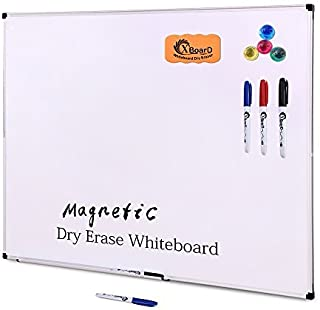 XBoard Double-Sided 36 x 24 Inch Magnetic Dry Erase Board Set - Wall Mounted 3' x 2' Reversible Whiteboard with 1 Dry Eras...