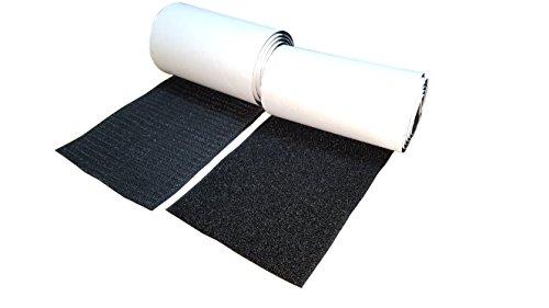 Hongxin LAttice Juego de tiras autoadhesivas de gancho y bucle con pegamento súper adhesivo y cierre de tela de nylon 10 CM / 1 M Negro