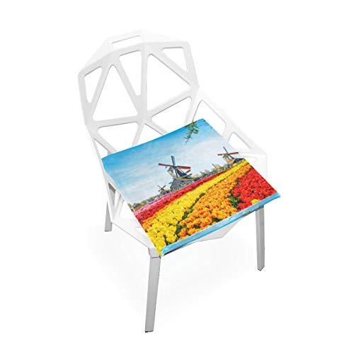 Holz Windmühle Blume Straße Benutzerdefinierte Weiche rutschfeste quadratische Memory Foam Chair Pads Kissen Sitz Für Home Kitchen Esszimmer Büro Rollstuhl Schreibtisch Holz Möbel Innen 16 X 16 Zoll