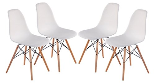 4 PC Mid Century Dining Chairs Wooden Furniture for Indoors (4, White)