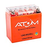 Atom Advanced 12N9-BS Gel Motorcycle Battery - Replaces YB9-B / 509 014 008