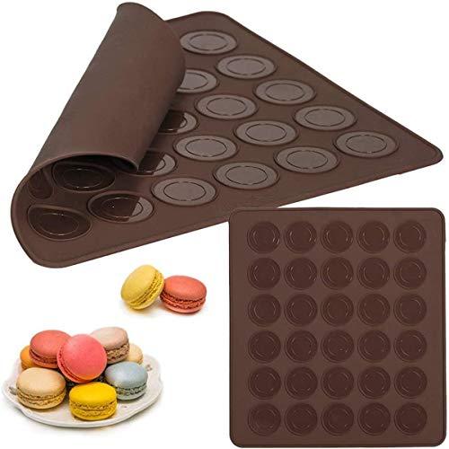BESTZY Macarons Backmatte aus Silikon 2 Stück Baiser Makronenplatte Backmatte Macarons für 30 Mulden Antihaftbeschichtet 29 * 26cm