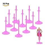 ASIV 10Pcs Support D'exposition de Vêtements Accessoires pour Poupée de 30cm, Rose