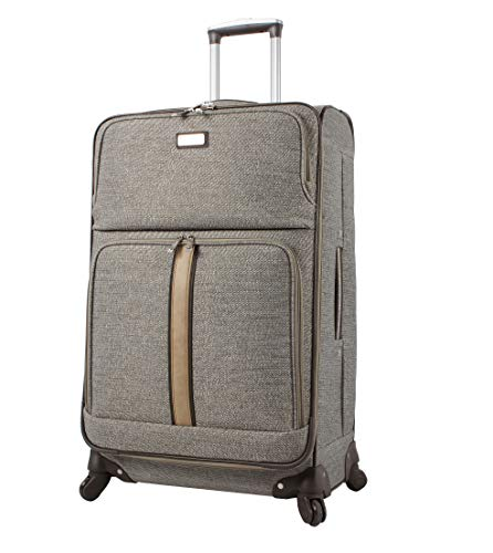 Nicole Miller Designer Luggage Collection - Expandable 24 Inch Softside Bag - Durable Mid-sized Lightweight Checked Suitcase with 4-Rolling Spinner Wheels (Cameron Tan)