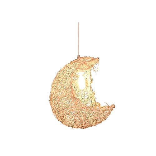 Luz colgante moderna Araña de luna de una sola cabeza creativa, araña de ratán hecho a mano con pantalla de transmisión de alta luz, 33 × 28cm Adecuado for hotel, cafetería, salón y lámparas de comedo