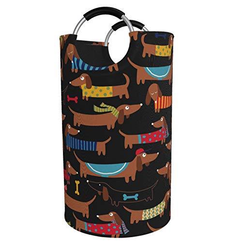 Sunmuchen Cesta de lavandería I Love My Dog Dachshunds, impermeable, grande, organizador para ropa, juguetes, dormitorio, baño, con asas de aluminio