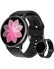 Smartwatch voor dames, fitnessarmband, horloge, gratis metalen band, sport, bluetooth, calorieënteller, hartslagmeter, stappenteller, bloeddrukmeting, volledig touchscreen, IP68 waterdicht, iOS en Android
