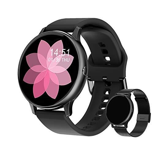 Smartwatch Damen Fitness Armband Uhr | GRATIS Metallband | Sport Bluetooth Kalorien Tracker Pulsuhr Schrittzähler Blutdruckmessung | Voll Touch Screen IP68 Wasserdicht IOS/Android
